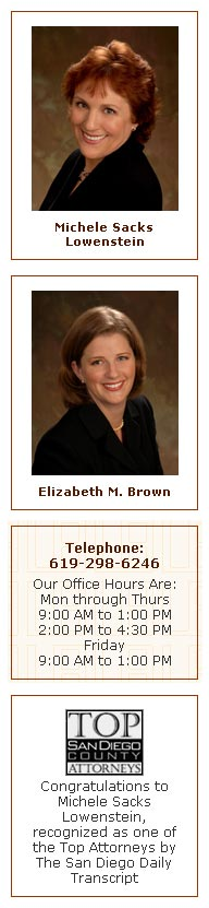 san diego's divorce lawyers michele sacks lowenstein elizabeth m. brown